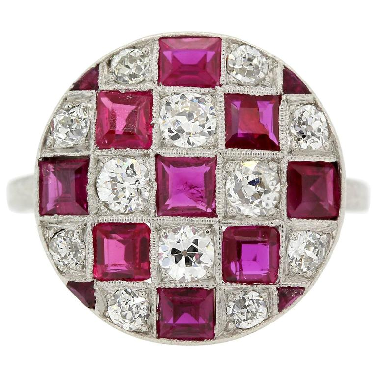 1920s Diamond Ruby Platinum Ring For Sale