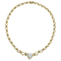 1980 Elegant French Diamond Woven Gold Rope Necklace
