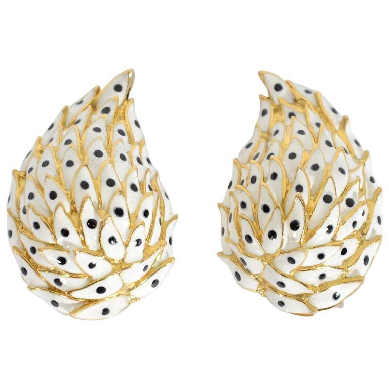 David Webb Enamel Gold Earrings 1