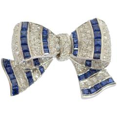 Tiffany & Co. Sapphire Diamond platinum Bow Brooch