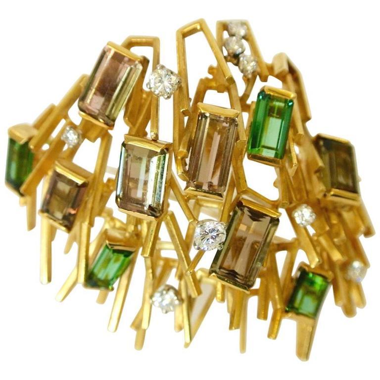 1965 Andrew Grima Modernist Tourmaline Diamond Gold Brooch