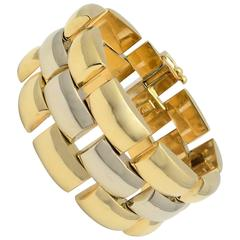 Yellow and White Gold Wide High Polished Dome Link Railroad Track Bracelet