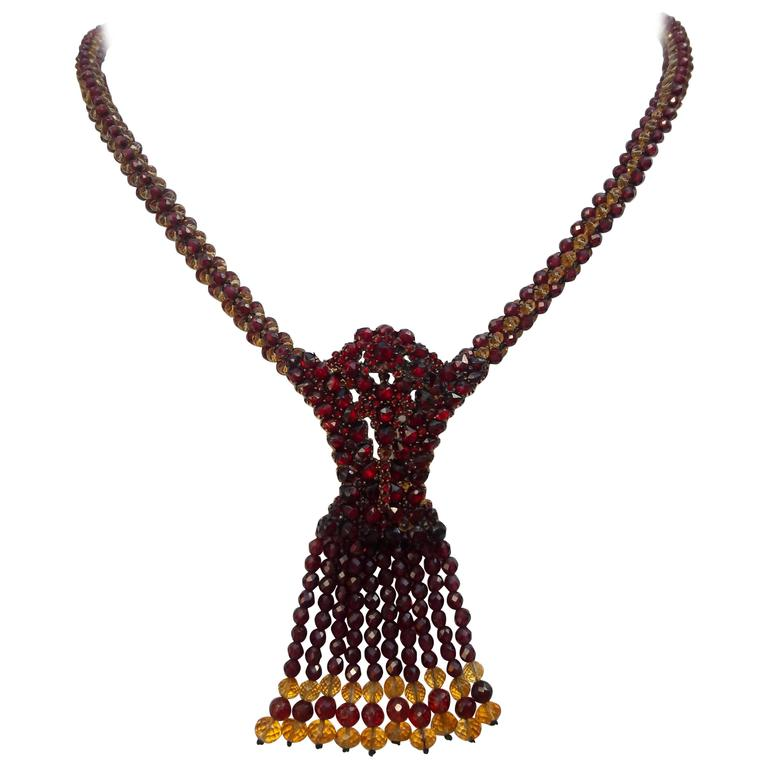 Marina J Garnet / Citrine Faceted Bead Woven Necklace