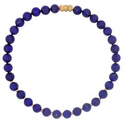 Fine Strand Lapis Lazuli Beads with Diamond Set Rondelles and Clasp
