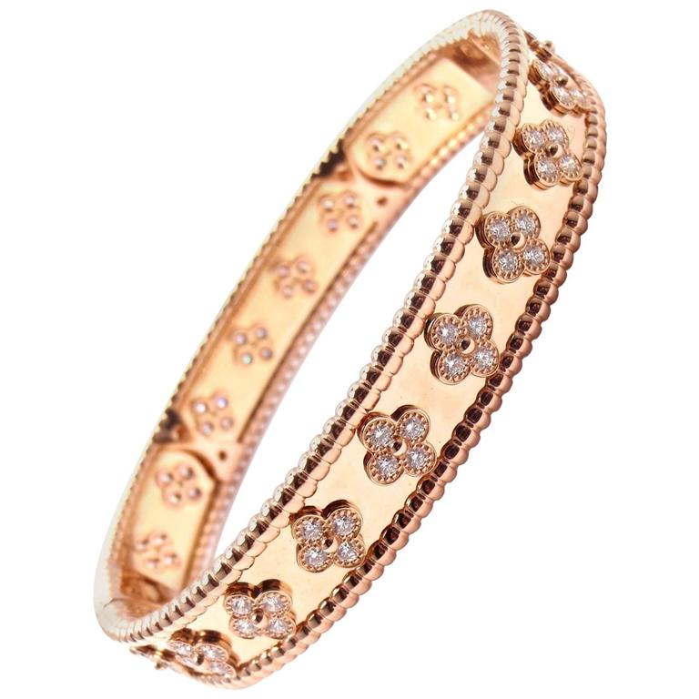 Van Cleef Arpels Perlee Diamond Clover Rose Gold Bangle Bracelet For