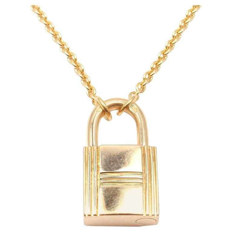 Hermes Paris Lock Pendant Gold Chain Necklace
