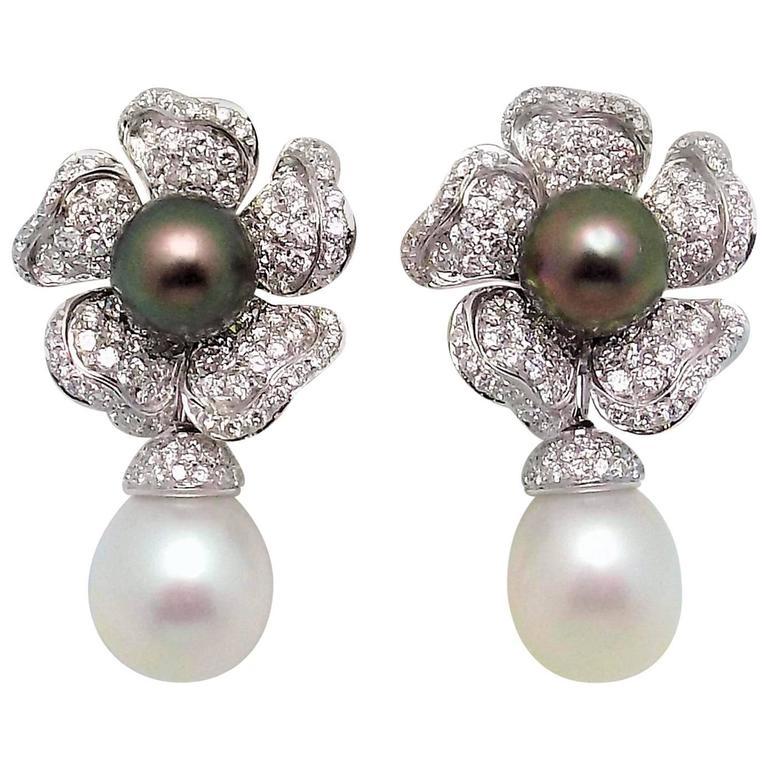 Tahitian And South Sea Pearl Diamond Removable Drop Italian Earrings For