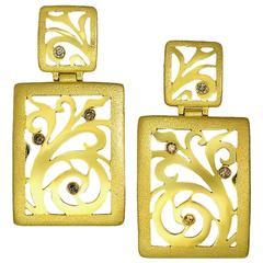 Alex Soldier Ltd Ed. Champagne Diamonds Gold Ornament Drop Contrast Earrings
