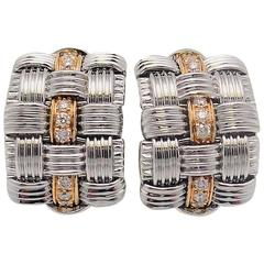 Roberto Coin Appassionata White and Rose Gold Diamond Triple Row Earrings