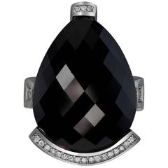 Diamond Black Onyx White Gold Textured Swan Ring Ltd Ed Handmade in NYC