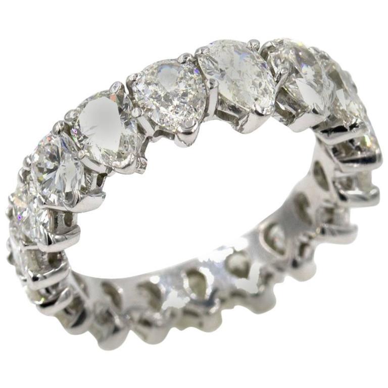 pear shaped diamond platinum eternity wedding band ring at