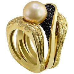 Alex Soldier Pearl Diamonds Textured Yellow Gold Cocktail Ring One of a Kind