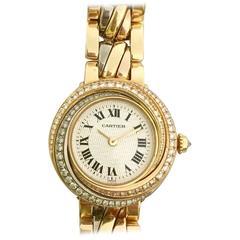 Cartier ladies Trinity Three Color Gold Diamond Rare Bracelet quartz  Wristwatch