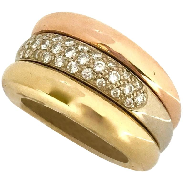 cartier pave three color gold ring for sale at 1stdibs