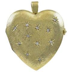 1940s Magnificent Huge Diamond Gold Heart Locket