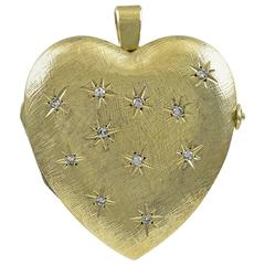 1940s Magnificent Huge Diamond Gold Heart Locket