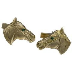 Horse Head Gold Cufflinks with Emerald Eyes
