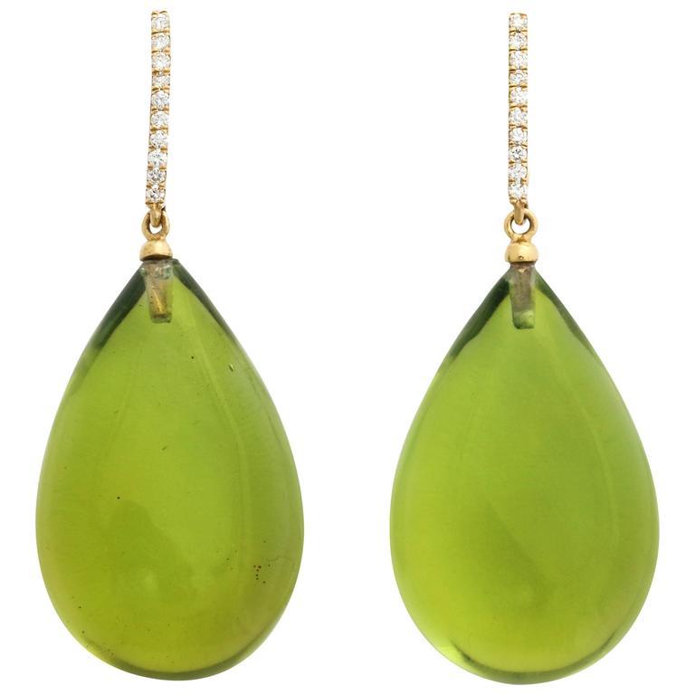 Michael Kanners Green Amber Diamond Gold Drop Earrings