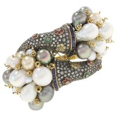 Luise White and Grey Pearl Multicolor Sapphire Ruby Emerald Diamond Bracelet