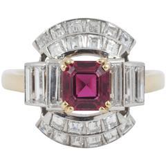 Spinel Diamond Gold Platinum Ring