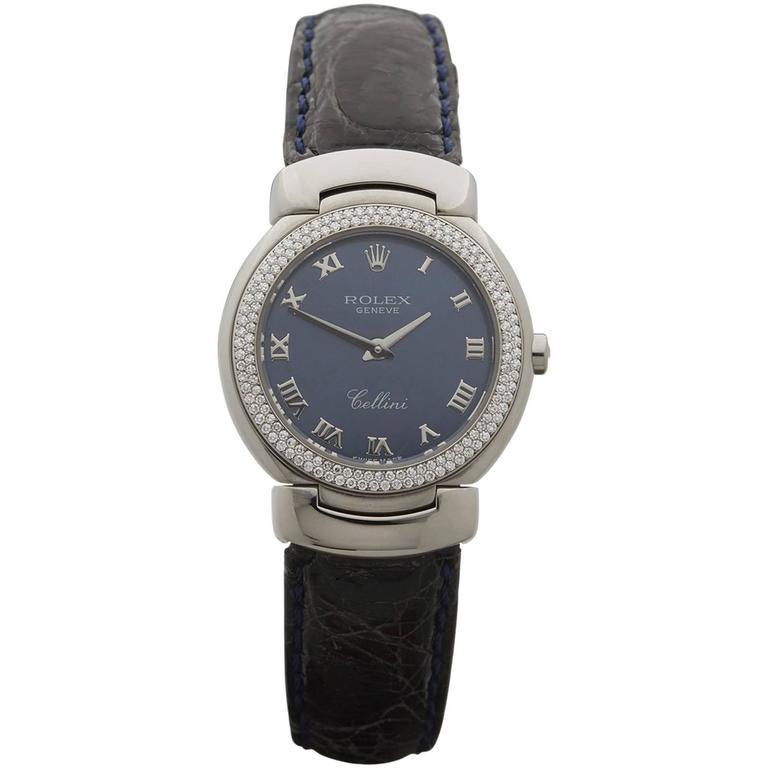 rolex white gold cellini bezel quartz wristwatch at