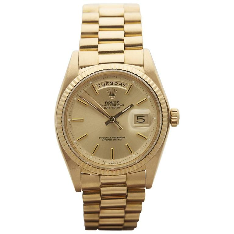 Rolex Yellow Gold Day-Date Automatic Wristwatch