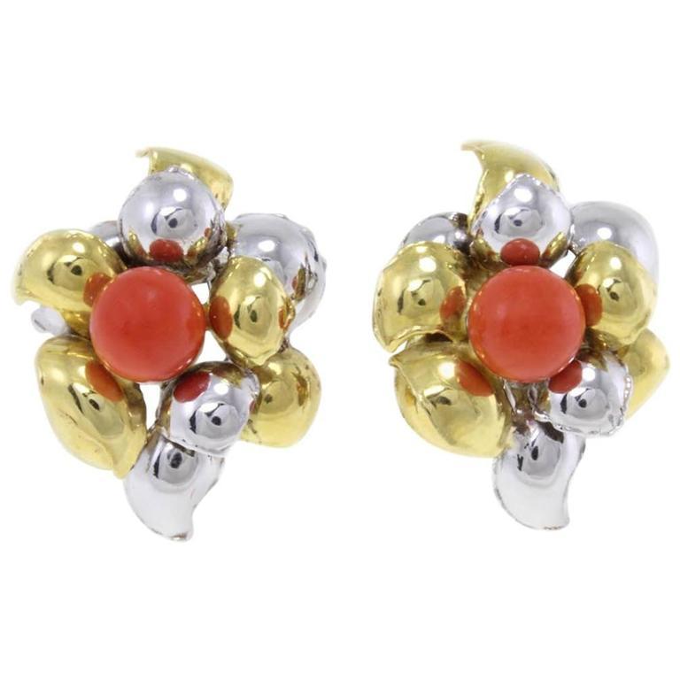 Coral Gold Leaves Earrings