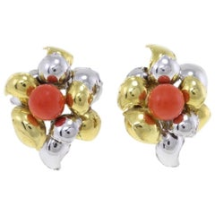 Red Coral Spheres, 18K White and Yellow Gold Leaves Shape Clip-on  Earrings