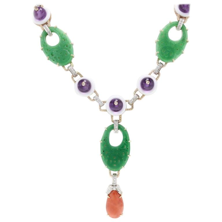 Luise Coral Diamond White Agate Gemstone Necklace 1