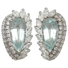 1940s 21.12 Carat Aquamarine and 5.86 Carat Diamond White Gold Earrings