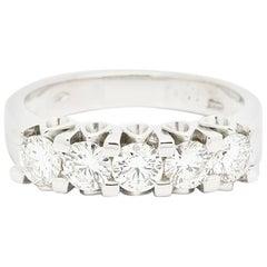 0.84ct Five Diamonds 18K White Gold Ring