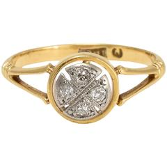 Art Deco Diamond Halo Cross Ring