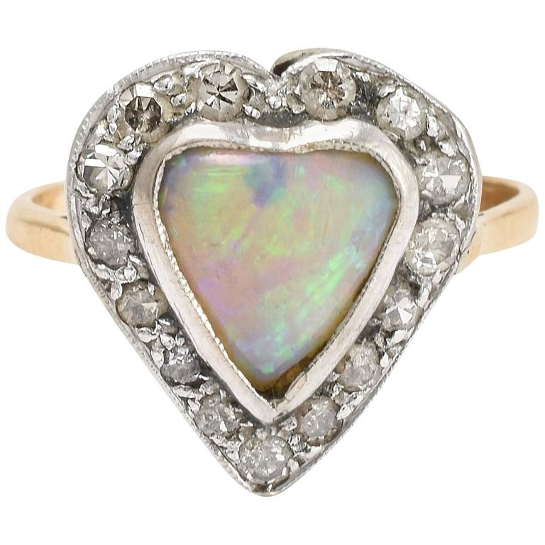 Victorian Opal Diamond Heart Ring For Sale