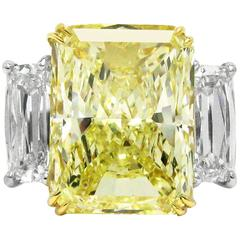J. Birnbach 11.98 Carats Total Fancy GIA Yellow and White Diamonds Gold Ring