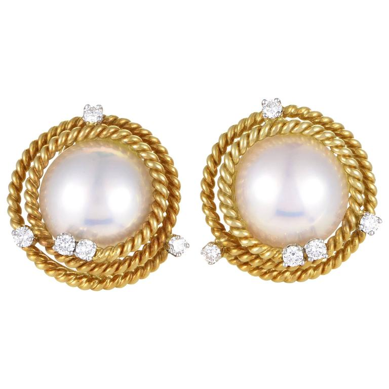 Tiffany Co Schlumberger Pearl Diamond Gold Earrings For