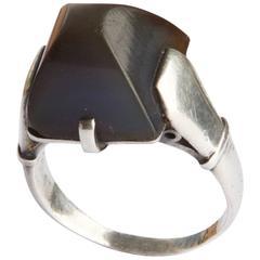 1928 Rare Jean Despres Onyx Silver Pyramid Ring