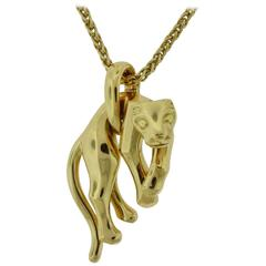 Cartier Yellow Gold Panthère Pendant with separate Cartier Chain