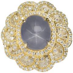 Star Sapphire diamond Gold Ring