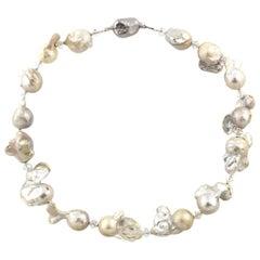 Gemjunky BoHo Chic Glistening Impressive Large Baroque Pearl Necklace