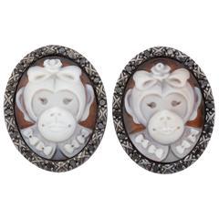 Amedeo Monkedea Cameo Diamonds Earrings