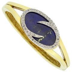 1970s Modernist Lapis Lazuli  Diamond Gold Bangle Bracelet