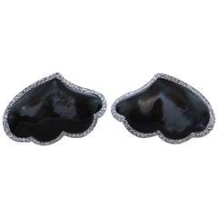 AMBROSI Diamond Black Mother of Pearl Gold Earrings