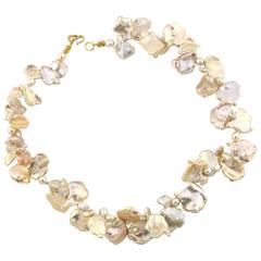 Light Peachy Goldy color Keshi Pearl necklace