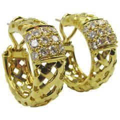 Tiffany & Co. Diamond Gold Vannerie Ear Clips