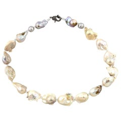 Slightly Gold Tone Natural Baroque Pearls Necklace