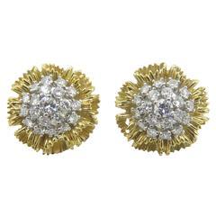 1960s Diamond Gold Flower Earrings