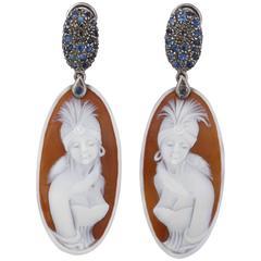 Amedeo Liberty Cameo Sapphires Diamonds Gold Earrings
