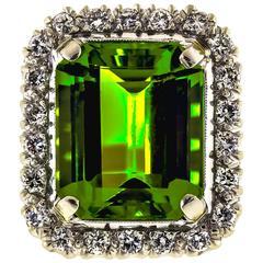Vintage Peridot and Diamond Cocktail Ring