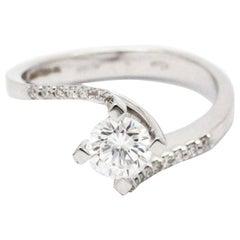 0.58 Carat white Diamond 18k white Gold Engagement Ring