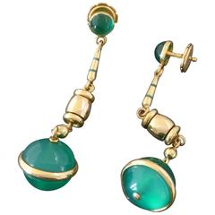 Marzo Paris Art Deco Chrysoprase Enamel Gold Dangle Earrings